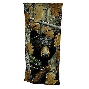 Black Bear folha camuflagem impressão algodão praia toalha 28 X 58
