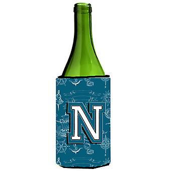 Letter N Sea Doodles Initial Alphabet Wine Bottle Beverage Insulator Hugger