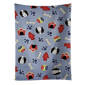Carolines skarby BB4009KTWL Dog House kolekcja japoński Chin Ręcznik kuchenny