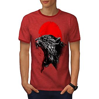 Panther Sonne rote Tier Männer Heather rot / RedRinger-t-Shirt | Wellcoda