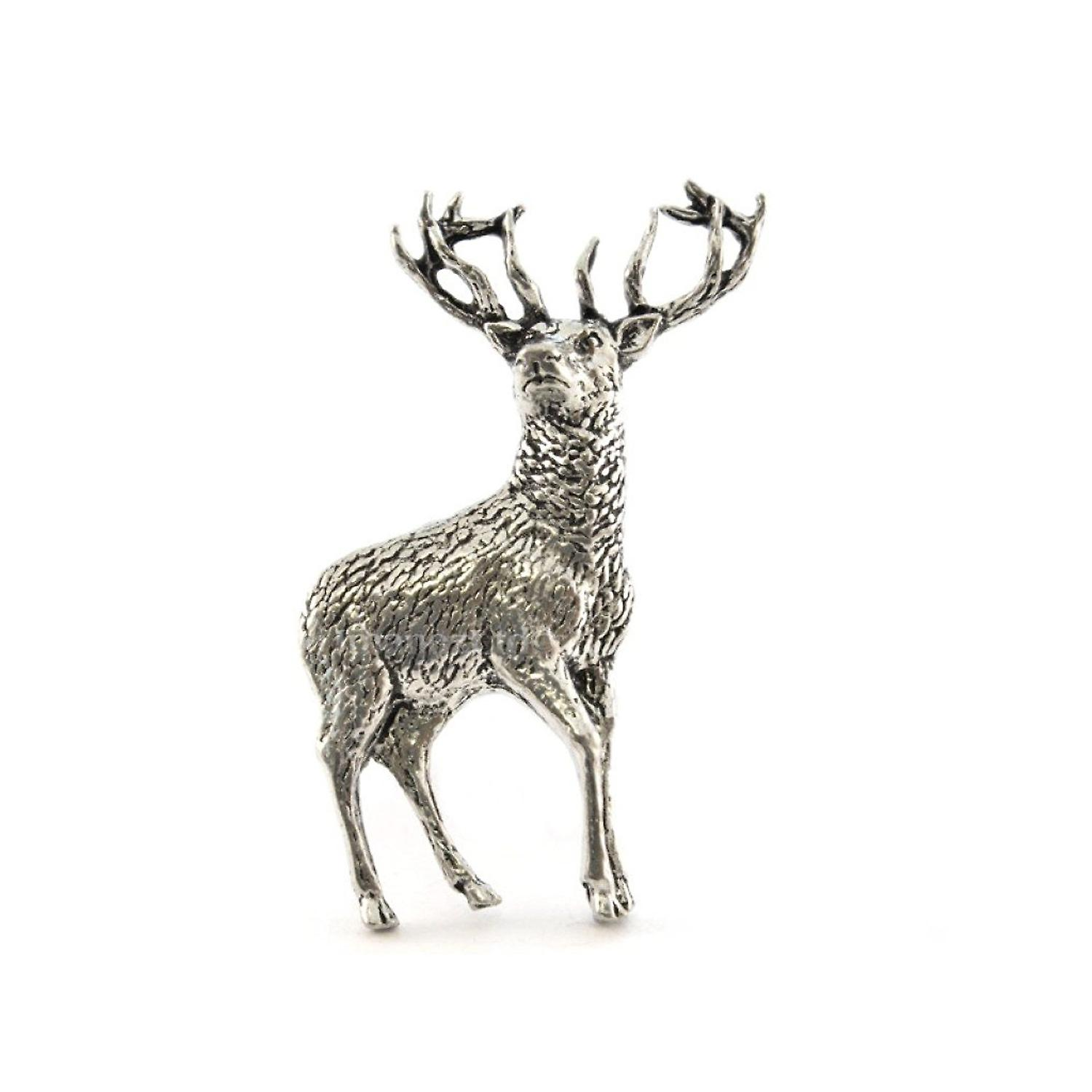 Standing Stag Pewter Lapel Pin Badge
