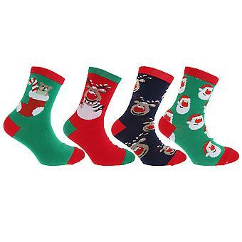 FLOSO Childrens/Kids Christmas Character Novelty Socks (Pack Of 4)