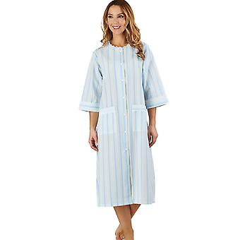 Slenderella HC1224 Women's Stripe Seersucker Blue Dressing Gown Loungewear Bath Robe 3/4 Length Sleeve Robe