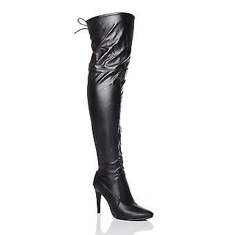 Ajvani Damen high Heels spitz Zehe über die Knie Strecke elastische Reitstiefel