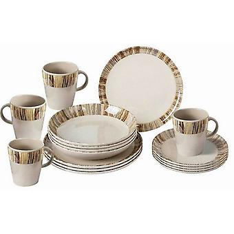 Brunner Bamboo Melamine Dinner Set (16 Pieces)