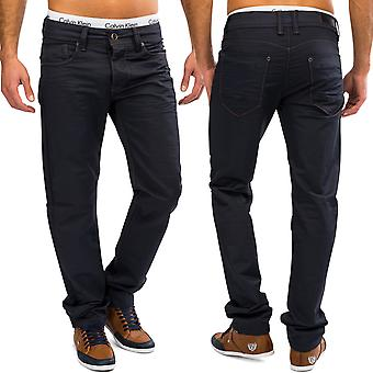 Men Coated Denim Blue Jeans Pants trousers Shiny Chino Straight Leg 100% cotton