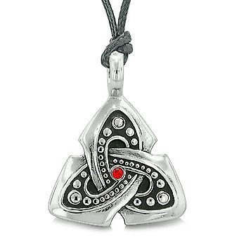 Antique Viking Triquetra Celtic Knot amulette protéger les pouvoirs Royal rouge pendentif en cristal collier