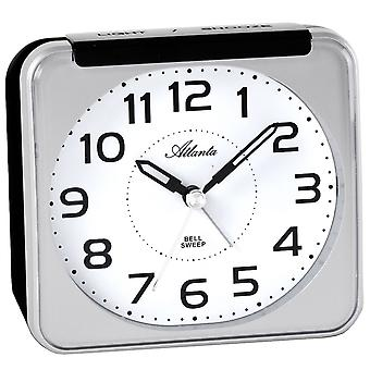 Atlanta 1955/19 alarm clock quartz analog silver quietly without ticking with light Snooze
