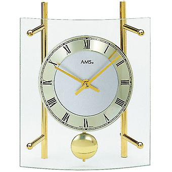 Table clock with pendulum quartz mineral glass brass painted metal rods