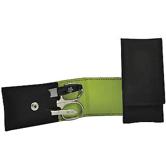 Caso de manicura seta anel VEGAN preto luz verde 3 peças conjunto de manicure
