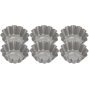 Judge Bakeware, Set Of 6 Round Mini Flan Tin - Fluted, 4 X 1.5cm, (1� X �inch)