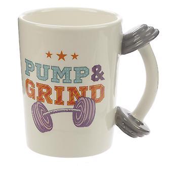 Tazza manubrio Pump & Grind crema, stampata, ceramica al 100%, presa ÷approx. 470 ml..