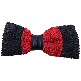 Knightsbridge Neckwear Bold Striped Knitted Bow Tie - Navy/Red