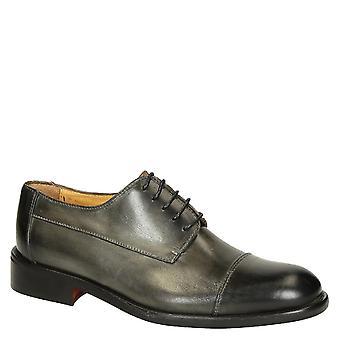 Grå delav kalv skinn menn's vanlig cap toe derby sko