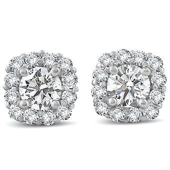 1 1 / 2ct diament Poduszka Halo stadniny 14k białe złoto