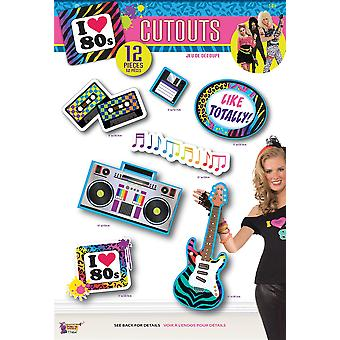 80s Party Cut Outs 12pc