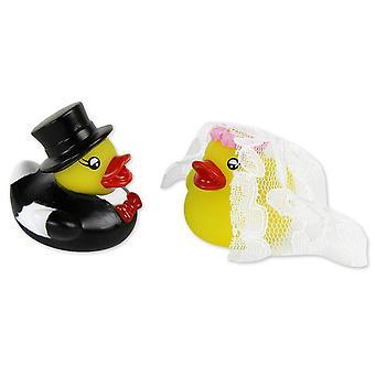 Na koupací kachny svatební dvojice 2 pískovací kachny žlutá, Tištěná, vyrobena z plastu, v krabici PVC