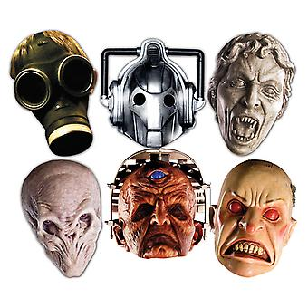 Doctor Who Monsters Halloween Card Fancy Dress Masker Set af 6 (Cyberman, Silent, Smiler, Davros, Tom Barn og grædende Angel)