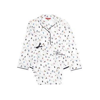 Minijammies 5364 Girl's Aspen White Skiing Print Pyjama Set