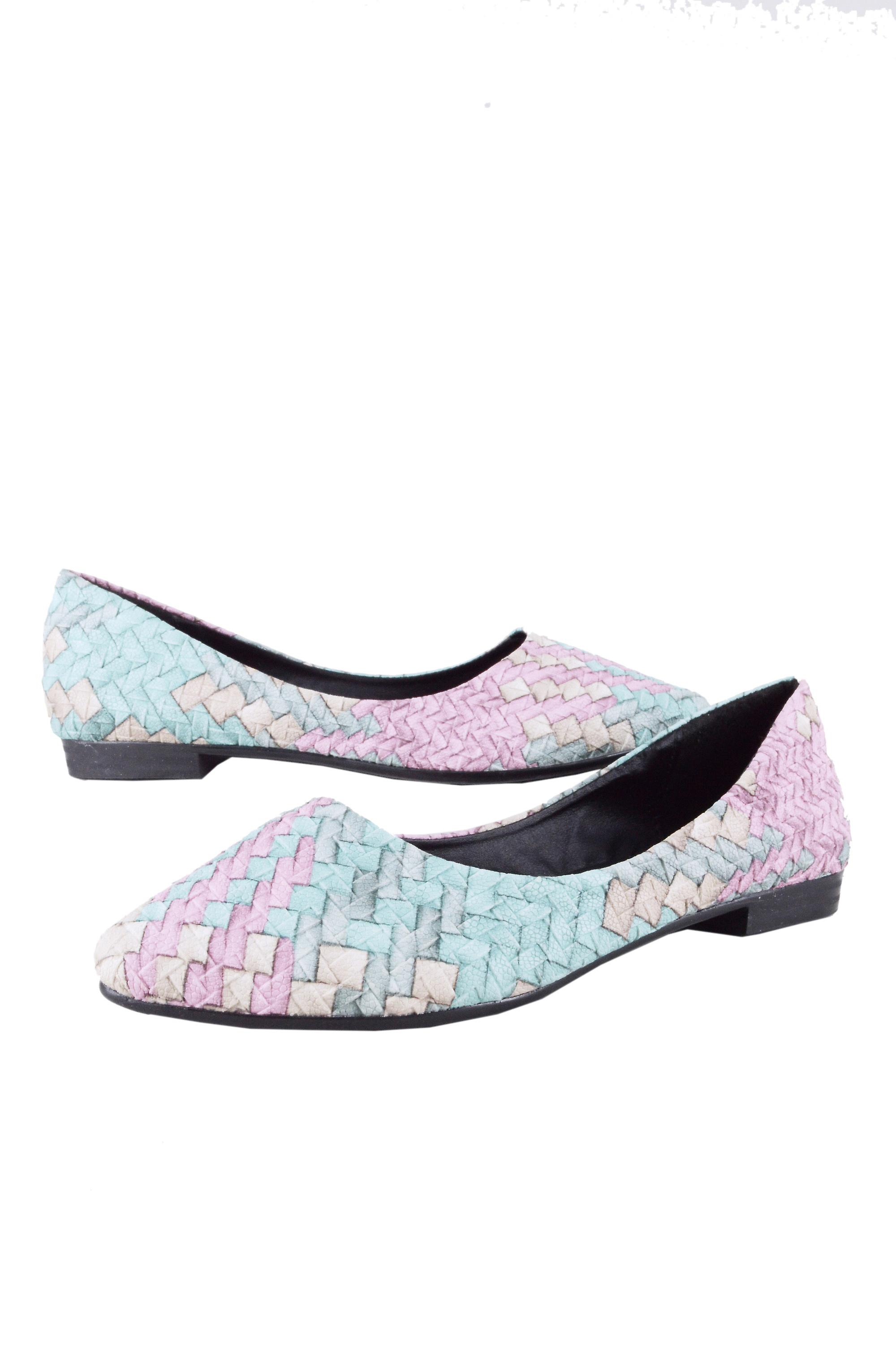 Lovemystyle Pastel Ballerina Pumps With Weave Texture
