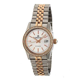 Empress Constance Automatic Bracelet Watch w/Date - Rose Gold/White