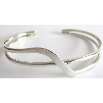 Sterling Silver Twisted Curved Waves Comfortable Silver Cuff Bracelet
