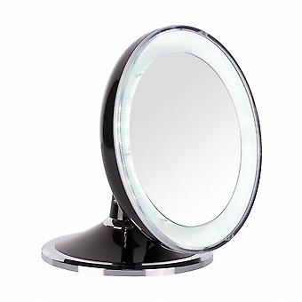 Danielle Folding LED Makeup Mirror 5x Mag Black / Chrome with Swarovski Elements