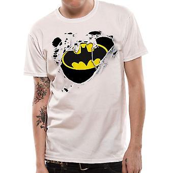 Men's Batman Torn Logo White T-Shirt
