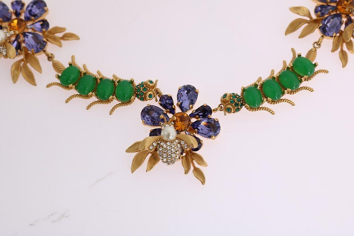 Gold brass crystal floral insect fly necklace