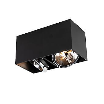 QAZQA Design spot rechteckig 2-hell schwarz inkl. 2 x G9 - Box