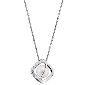 Orphelia 925 Silver Pendant with Chain with Pearl and Zirconium