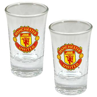 Manchester United FC Football officiel Crest verres (Pack de 2)