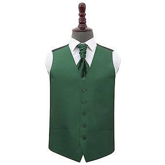 Emerald Green Plain Shantung Wedding Waistcoat & Cravat Set