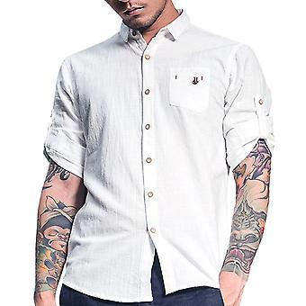 Allthemen Mens Half Sleeve Casual Solid Shirt