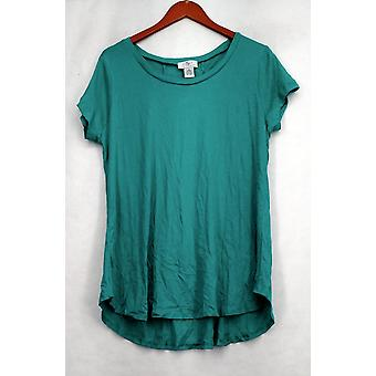 OSO Casuals Top Short Sleeve Lace Up Back Top Green Womens A408363