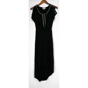 Glitterscape Short Sleeved Round Neck Embellished Black Dress A417785