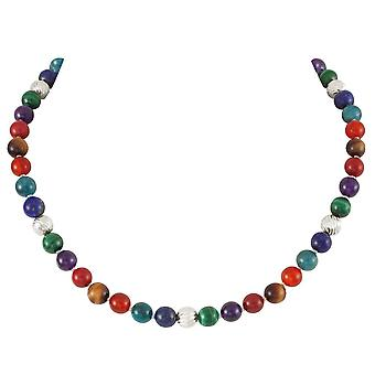 Eternal Collection Debutante Multicoloured Semi Precious Beaded Silver Tone Necklace