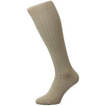 Pantherella Pembrey Sea Island Baumwolle über dem Kalb Socken - leichte Khaki