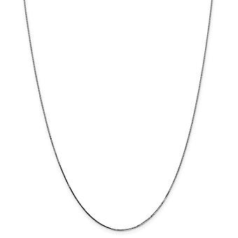 14k White Gold Solid Polished Spring Ring 0.70mm Box Chain Necklace - Length: 14 to 30