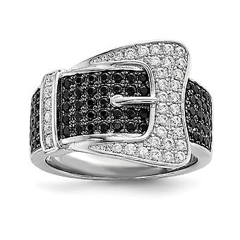 925 Sterling Silver Pave Black Rhodium plated and CZ Cubic Zirconia Simulated Diamond Brilliant Embers Buckle Ring Jewel