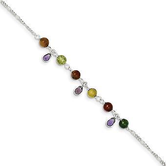 925 Sterling Silver Fancy Jasper Bracelet Anklet 9 Inch Spring Ring Jewelry Gifts for Women