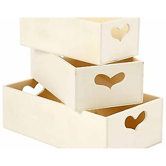 3 Wooden Small Crates with Heart Cut-Out Handles