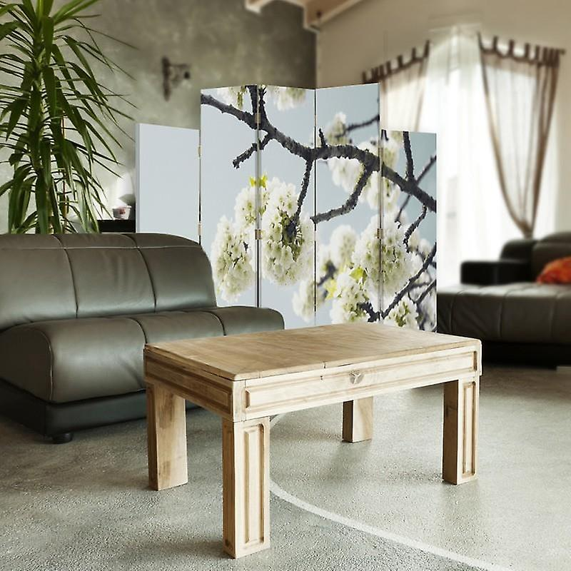 Diviseur de pièce décoratif, 5 panneaux, toile, fleurs blanches sur une branche 2