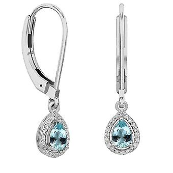 Dazzlingrock Collection 10K 7X5 MM Each Pear Aquamarine & Round White Diamond Ladies Halo Dangling Drop Earrings, White Gold