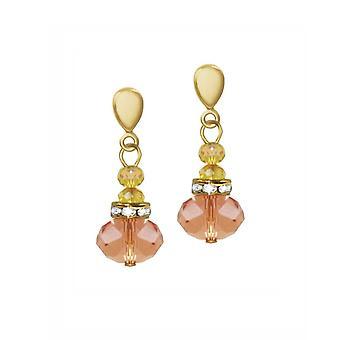 Eterna colección Toscana durazno oro de cristal tono gota Clip en pendientes