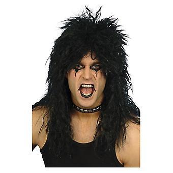 Hombre rockero duro peluca negro disfraces accesorios