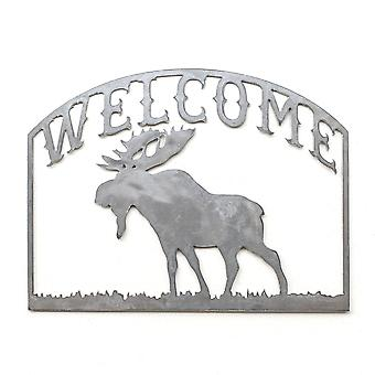 Welcome - moose - metal cut sign 16x12in