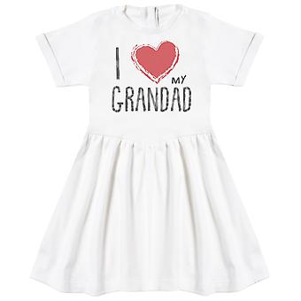 I Love My Grandad Red Heart Baby Dress