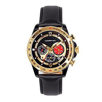 Morphic M88-serien chronograph Leather-band klokke m/date-svart/gull