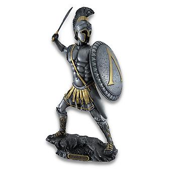 Spartaanse krijger met zwaard en Hopliet Shield standbeeld verzilverd/goud-accenten
